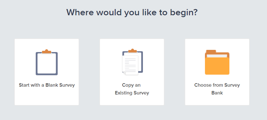 survey design starting options in SoGoSurvey