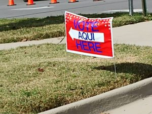 Voting sign on Election Day