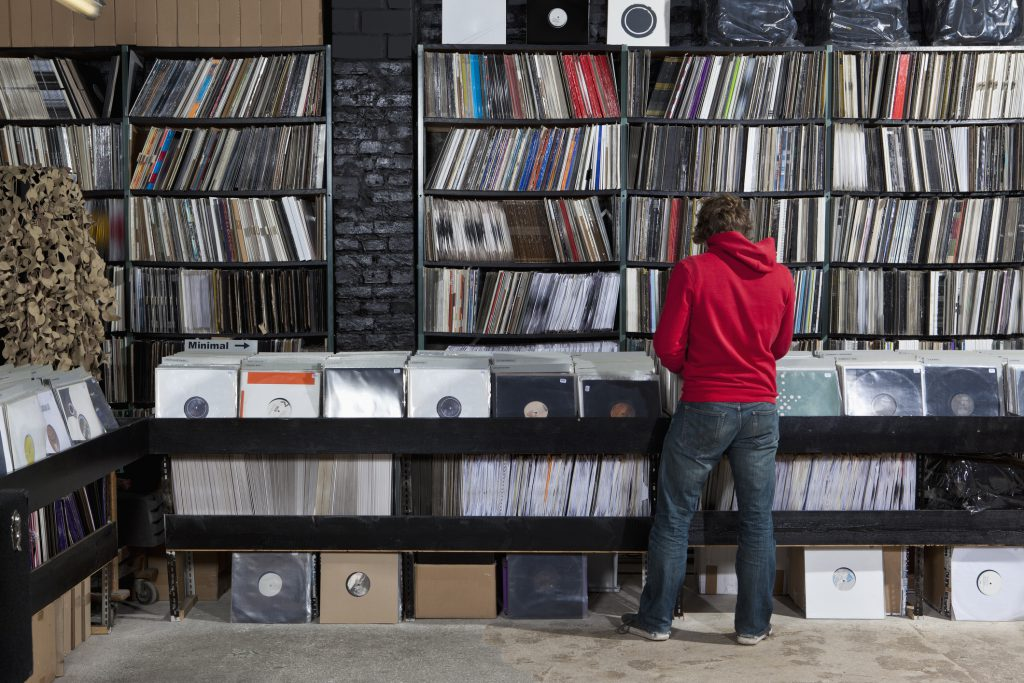 sorting through records