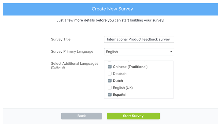 Multilingual survey