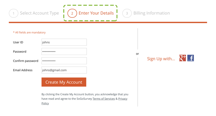 Provide account details