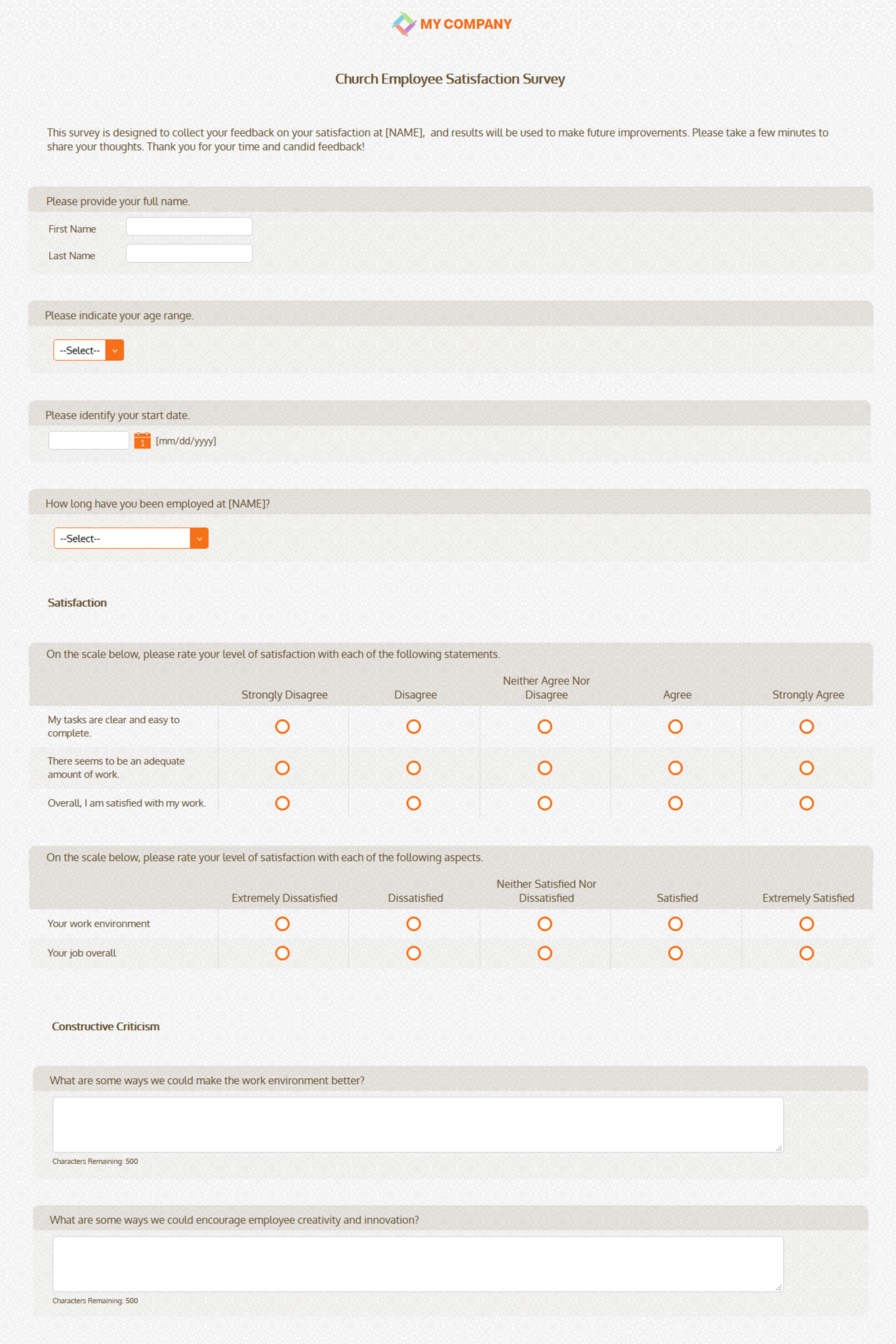church employee satisfaction templates  u0026 questions