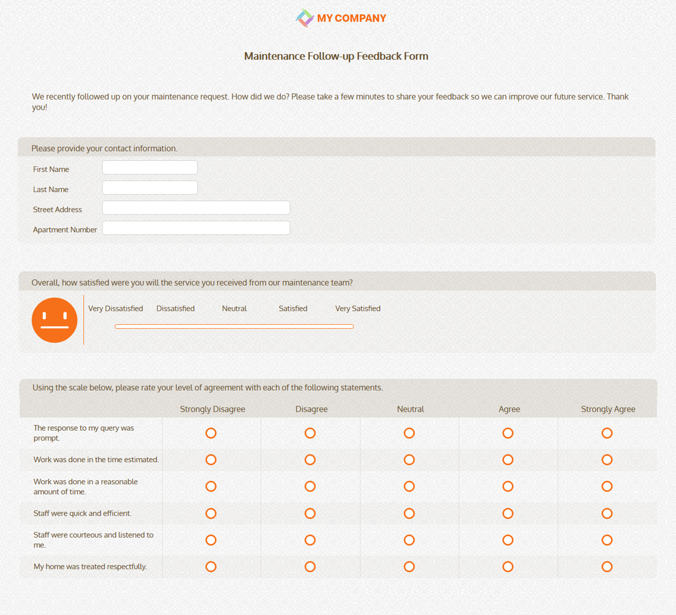 maintenance follow up feedback form template questionnaires