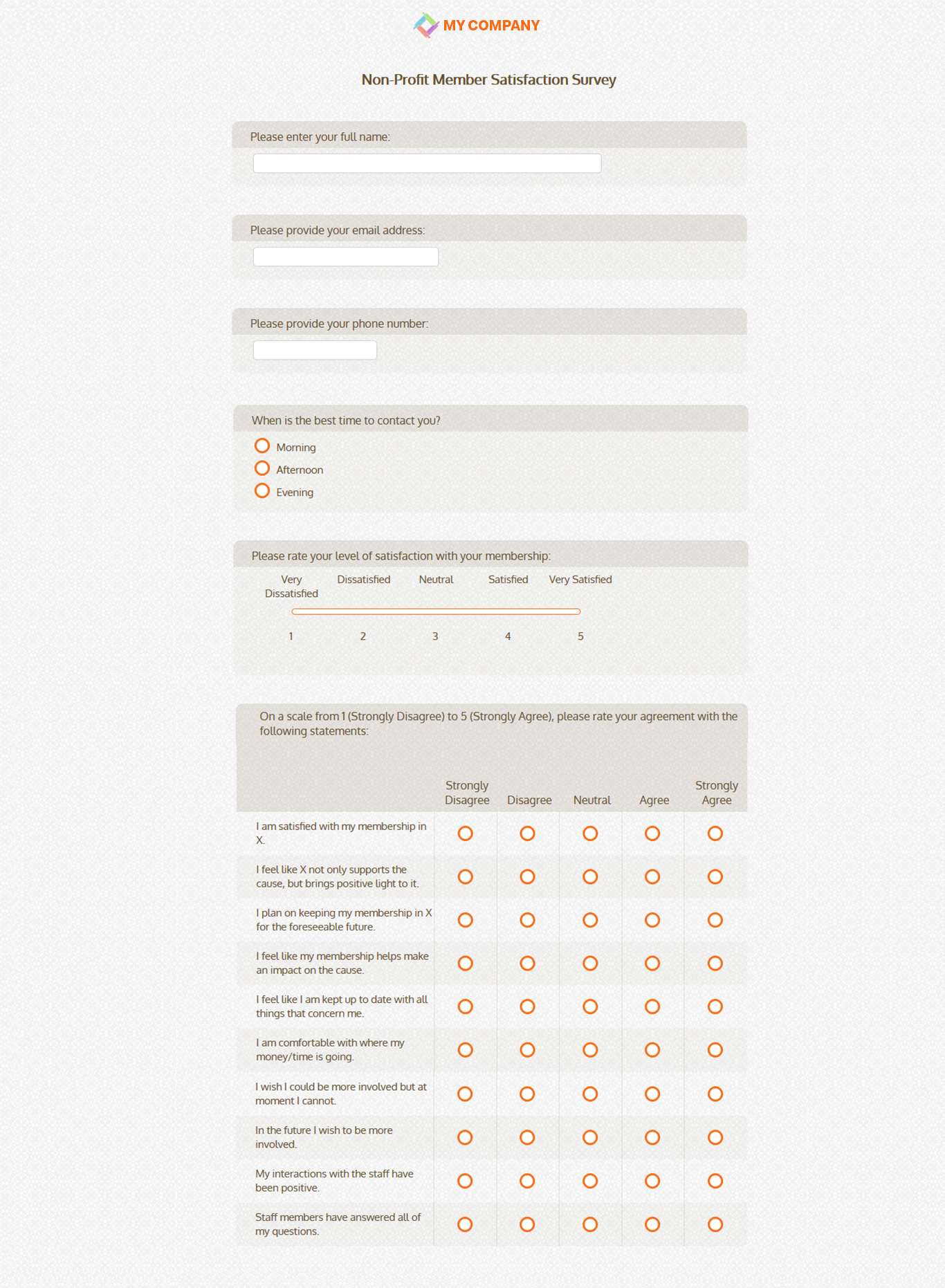 Non profit member satisfaction survey questionnaires for Volunteer satisfaction survey template