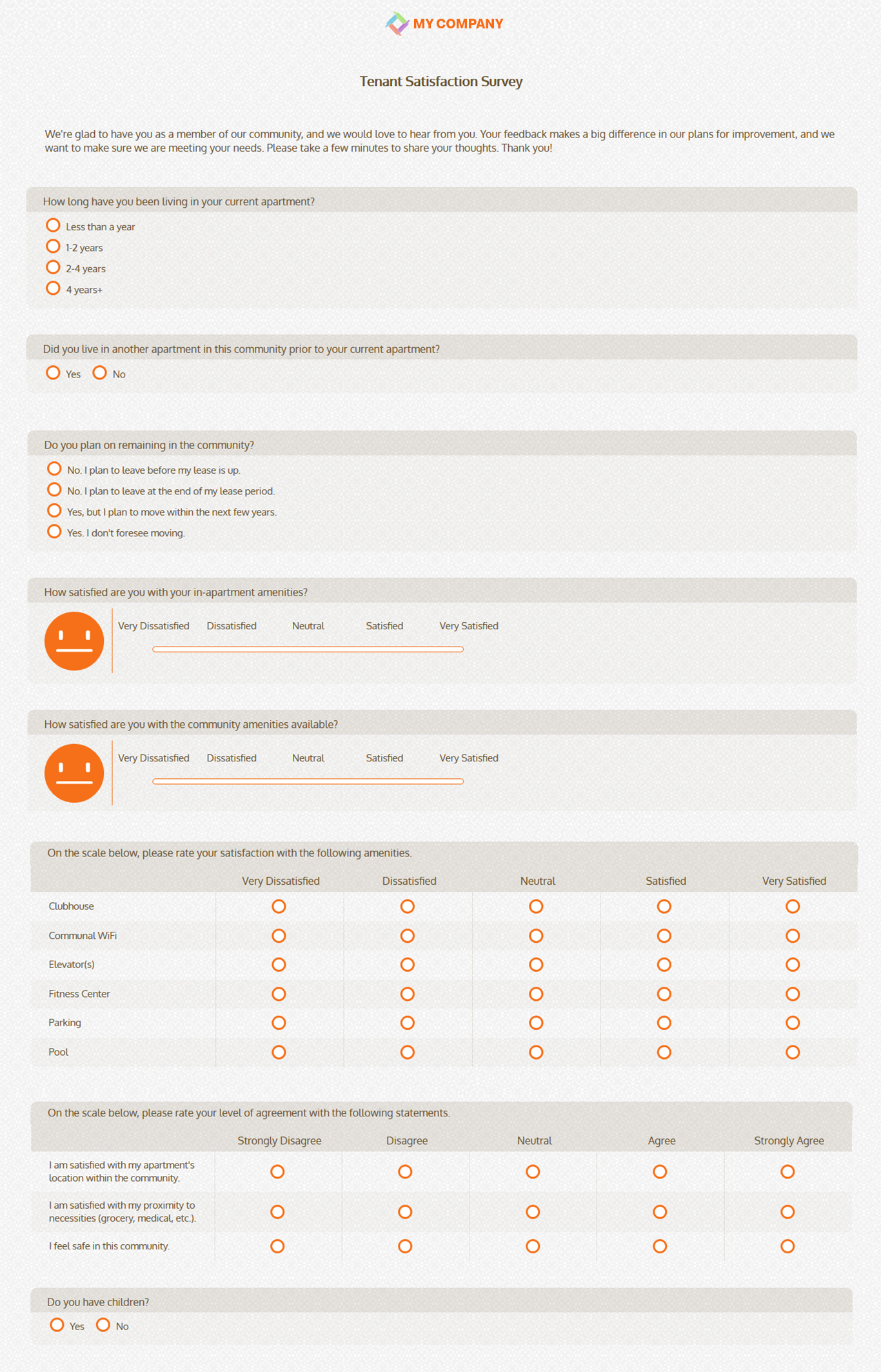tenant satisfaction survey template questionnaires sogosurvey